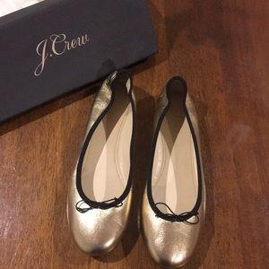 Gold J Crew Ballet Flats